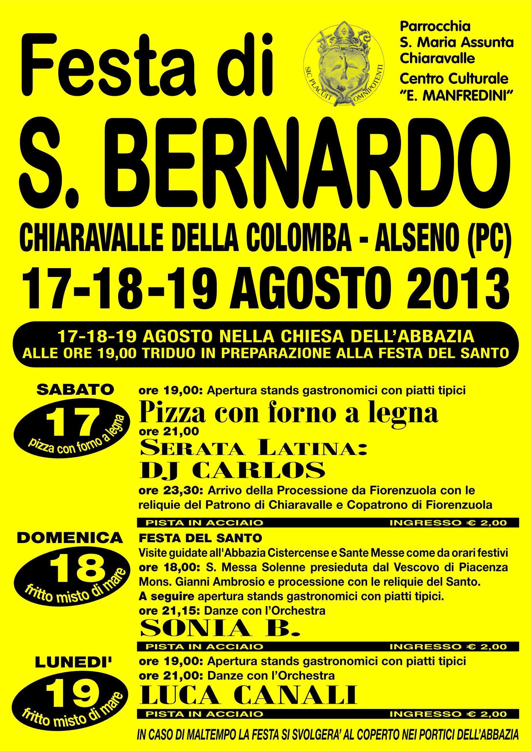 Festa di San Bernardo 2013, dal 17 al 19 agosto ad Alseno (PC) post image