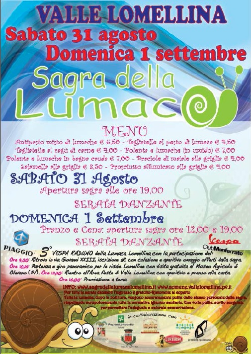 Sagra lumaca lomellina 2013: 31 agosto e 1 settembre a Valle Lomellina (Pv) thumbnail