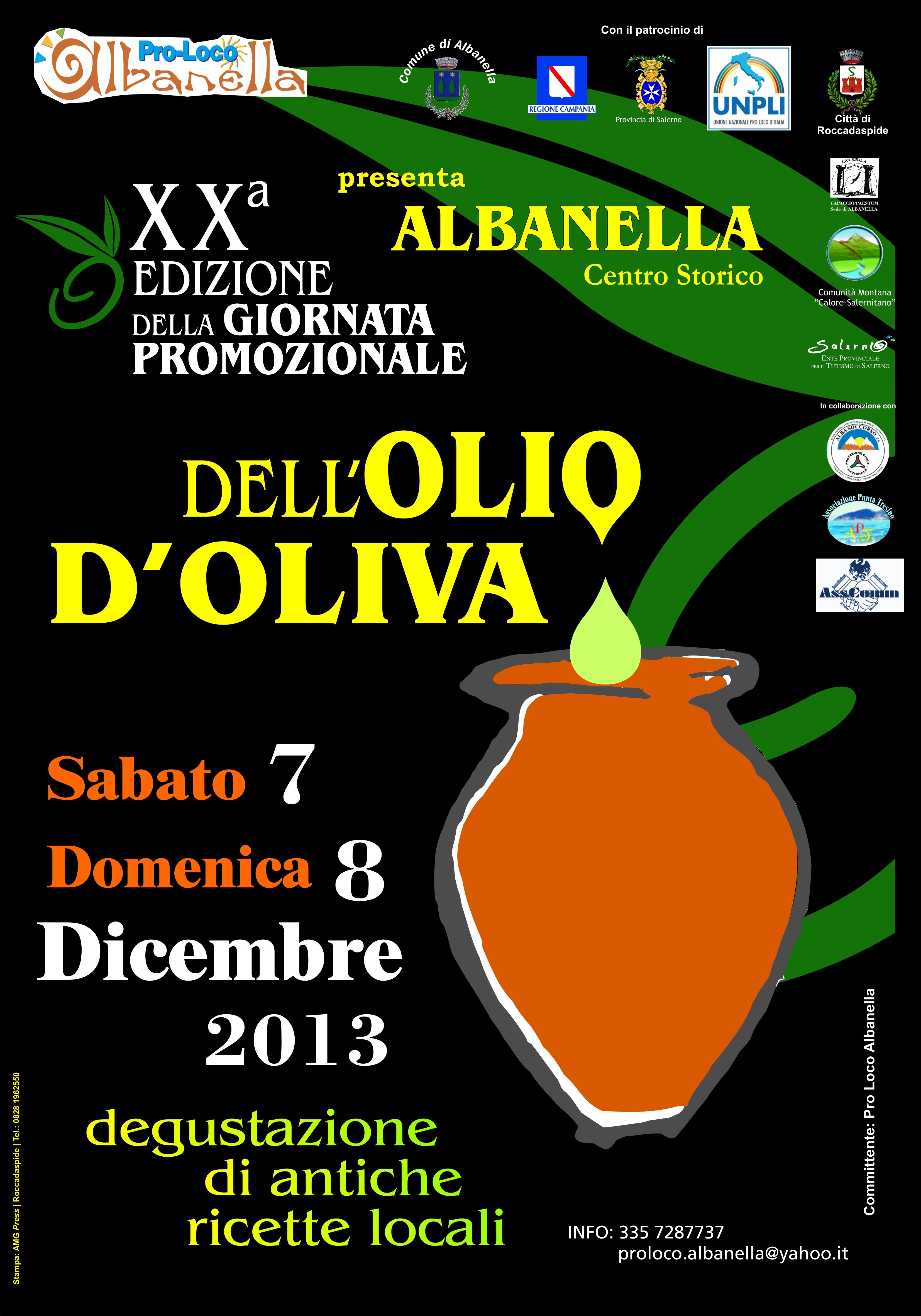Giornata promozionale dell'olio d'oliva, il 7 e 8 dicembre 2013 ad Albanella (Sa) thumbnail